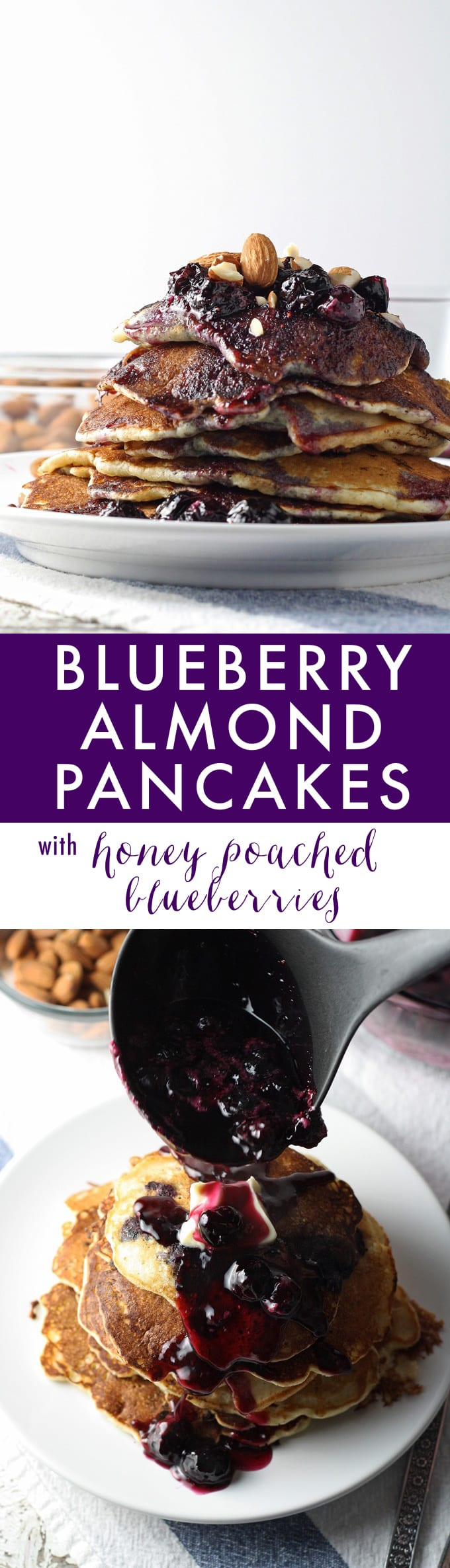 Start your day with these delicious blueberry almond pancakes and homemade blueberry syrup! #breakfast honeyandbirch.com