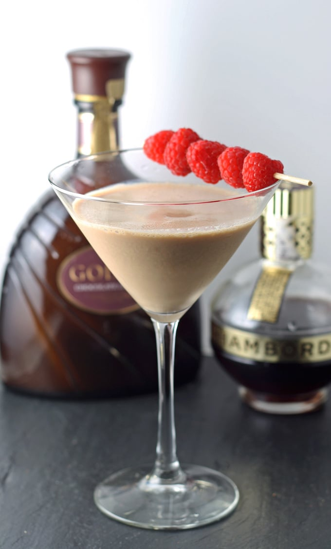 Chocolate Raspberry Martini | #cocktail honeyandbirch.com