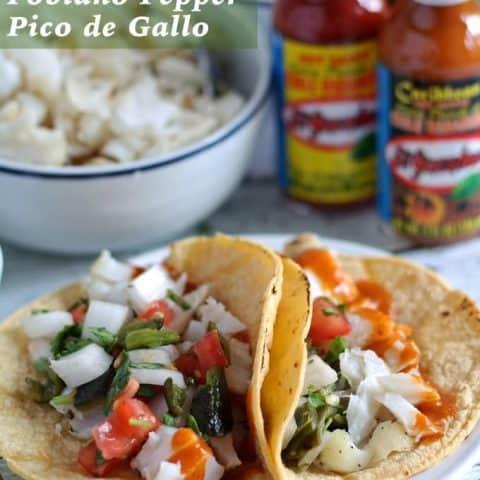 Fish Tacos with Poblano Pepper Pico de Gallo #KingOfFlavor #ad | honeyandbirch.com