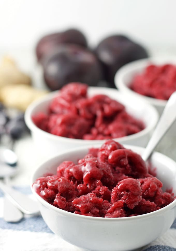 This plum blueberry ginger granita is the perfect way to end a barbecue. Make this sweet treat the day before so you can just enjoy the party! | honeyandbirch.com