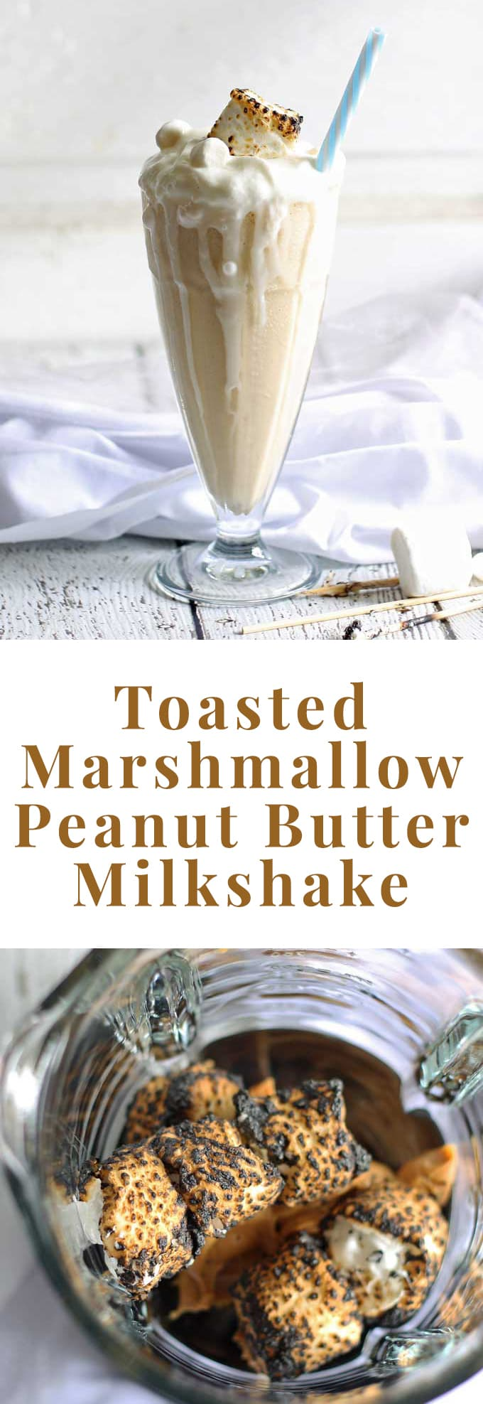Toasted Marshmallow Peanut Butter Milkshake | honeyandbirch.com