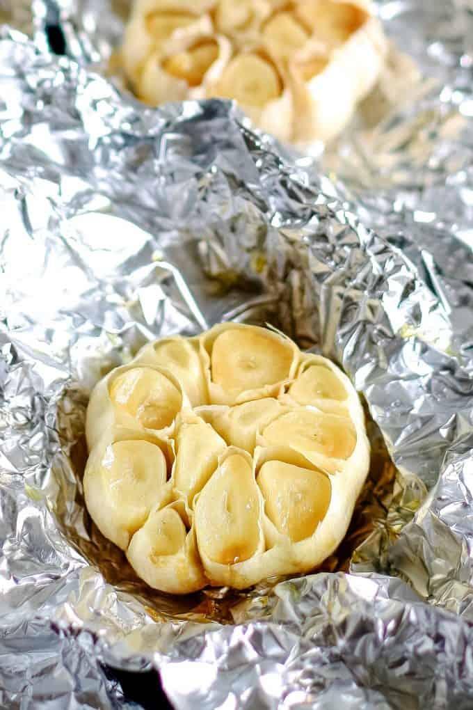 roasted garlic on foil
