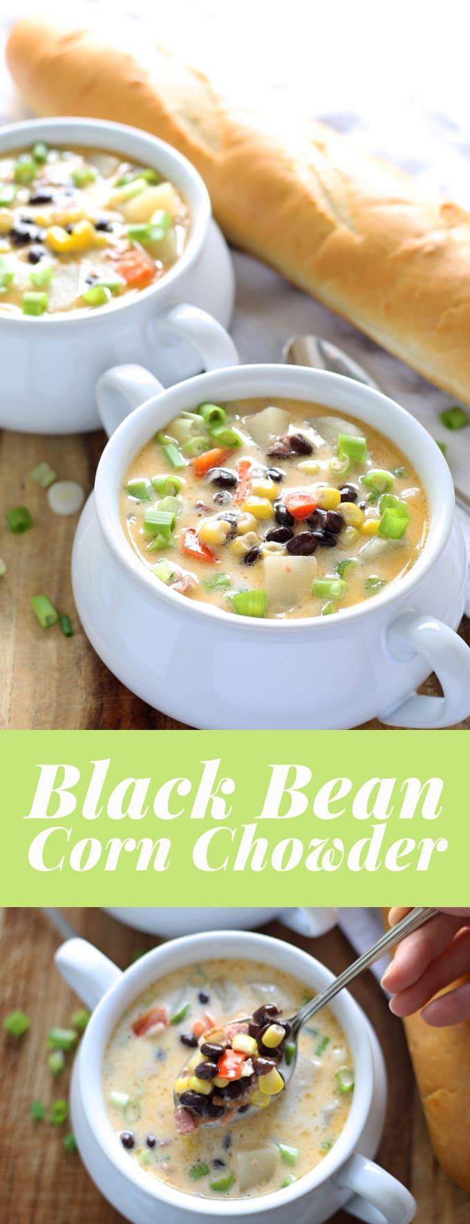 black bean corn chowder pin