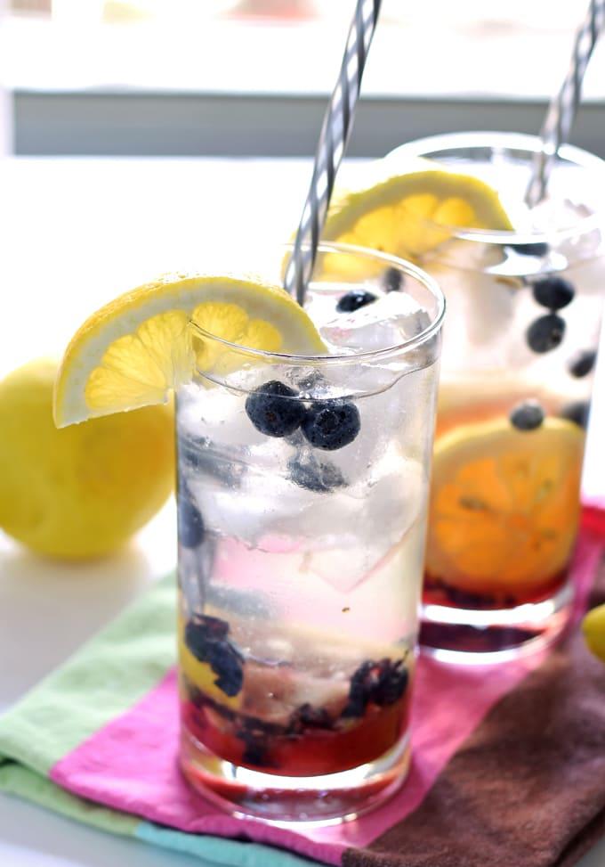 Blueberry Lemon Smash Rum Cocktail | honeyandbirch.com