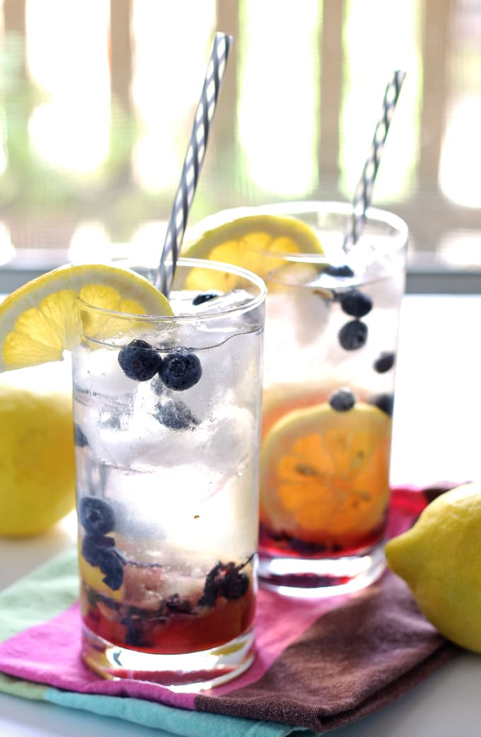 Two Blueberry Lemon Smash Rum Cocktails