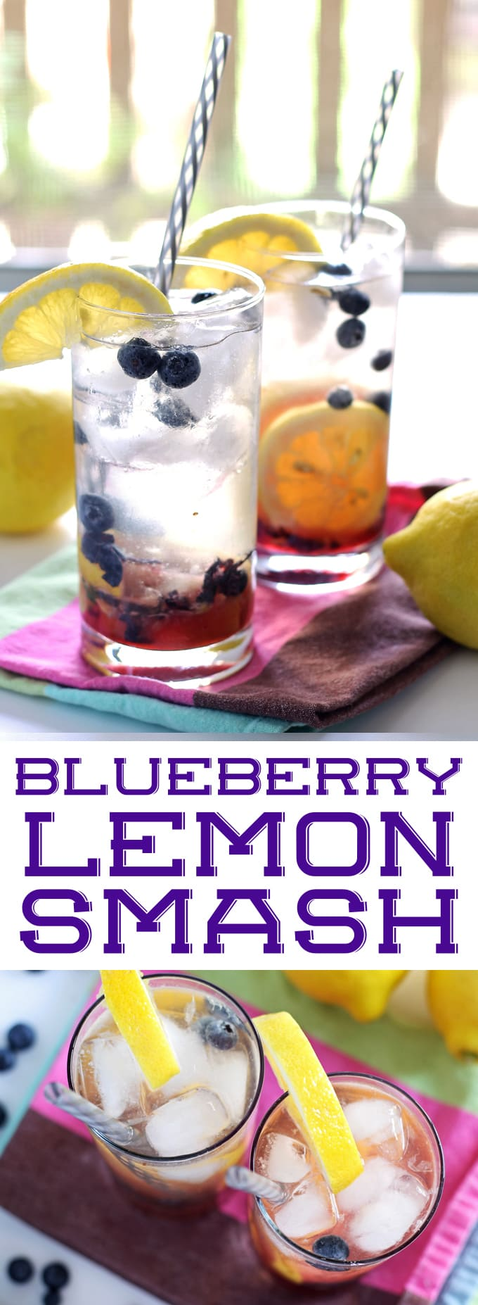 Blueberry Lemon Smash Rum Cocktail | honeyandbirch.com