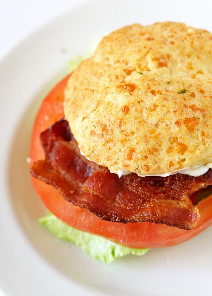 This cheddar chive biscuit BLT sandwich is going to be your new favorite lunch. #BetterBiscuits #ad | honeyandbirch.com