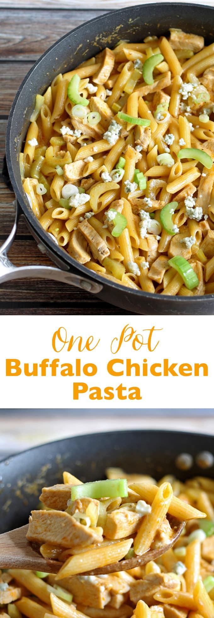 Looking for an easy dinner? Try this one pot buffalo chicken pasta dinner! | honeyandbirch.com
