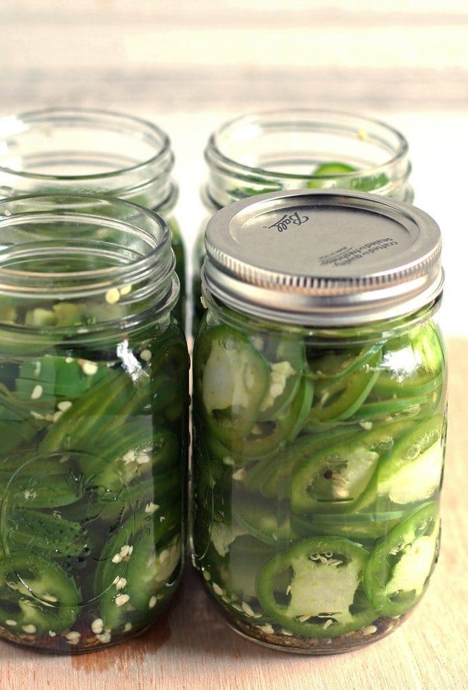Make quick pickled jalapeños! Whether you have a large jalapeño bounty from your garden or you picked up a bunch at the store, pickling is a fun summer activity. | honeyandbirch.com