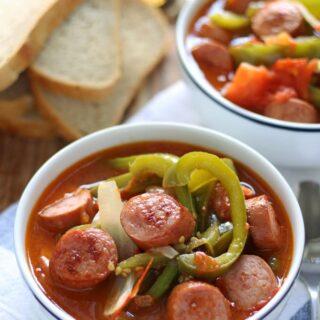 Sausage Leczo / Lecso (Hungarian Vegetable Stew) | honeyandbirch.com