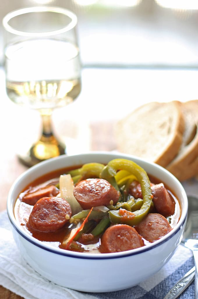 Sausage Leczo / Lecso (Hungarian Vegetable Stew) | honeyandbirch.com