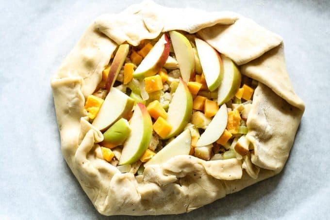 savory apple galette unbaked