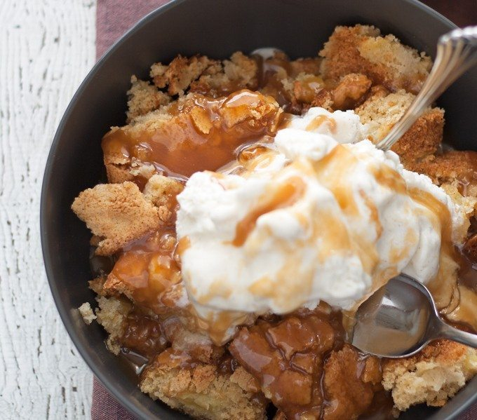 Apple Cake Sundae - hot apple cake fresh out of the oven, vanilla ice cream and caramel! My new favorite fall dessert! | honeyandbirch.com #sponsored