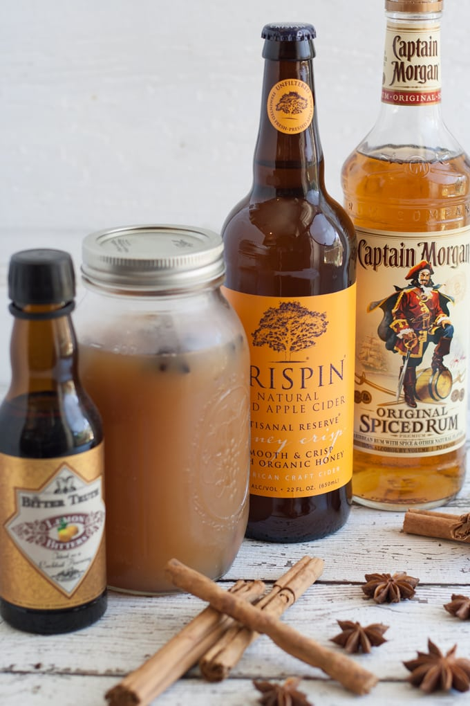 Autumn Spiced Rum Cider Cocktail ingredients