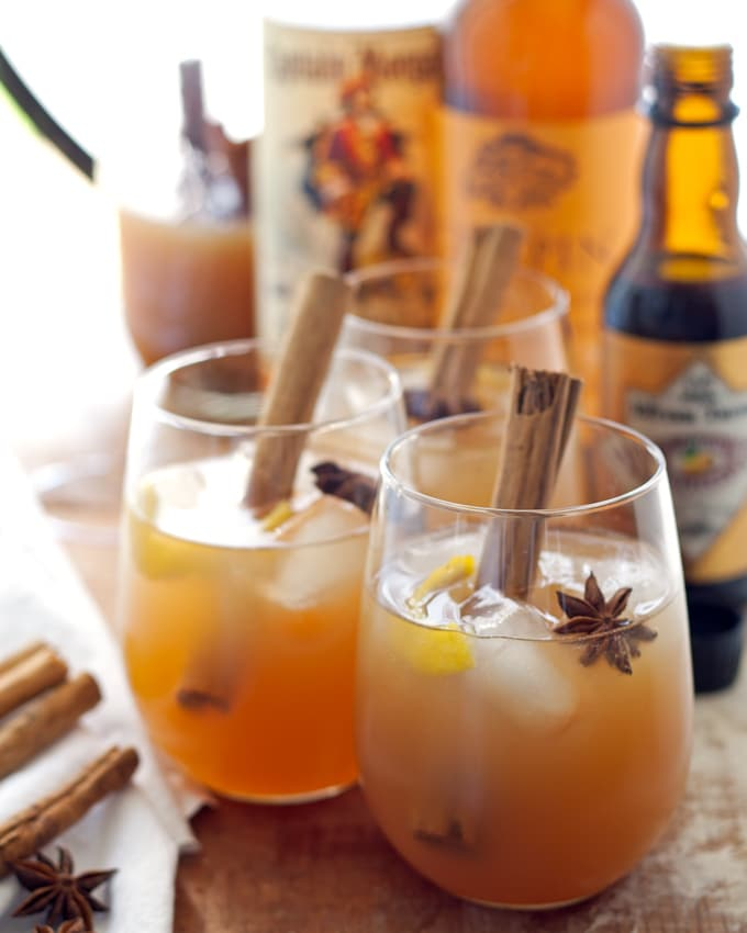 Autumn spiced rum cider cocktail honey and birch for Spiced rum drink recipes