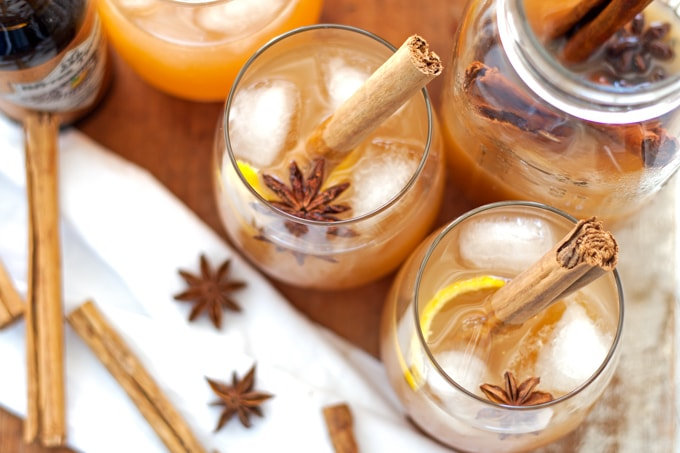 Autumn Spiced Rum Cider Cocktail picture from above