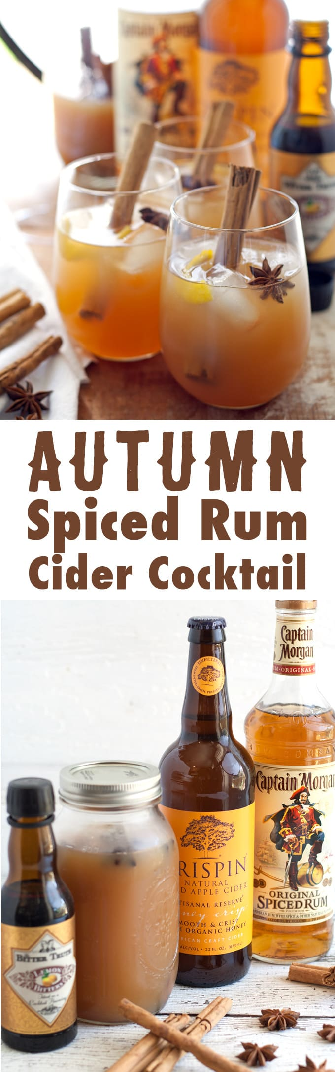 Autumn Spiced Rum Cider Cocktail long pin