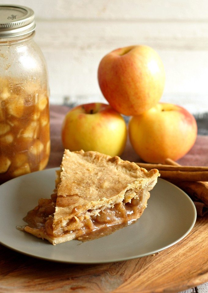 Make homemade apple pie filling with all of autumn's bounty of apples! Fill your home with the smells of apple pie all year long! | honeyandbirch.com Apple Pie Slice