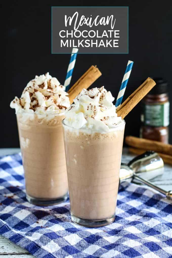 Mexican chocolate milkshake Pinterest image