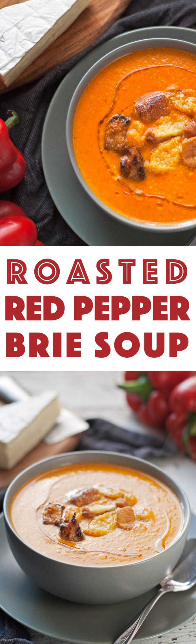 This roasted red pepper brie soup is creamy and smooth. Serve it with homemade croutons or crusty bread and a salad for the perfect cool-weather lunch! | honeyandbirch.com