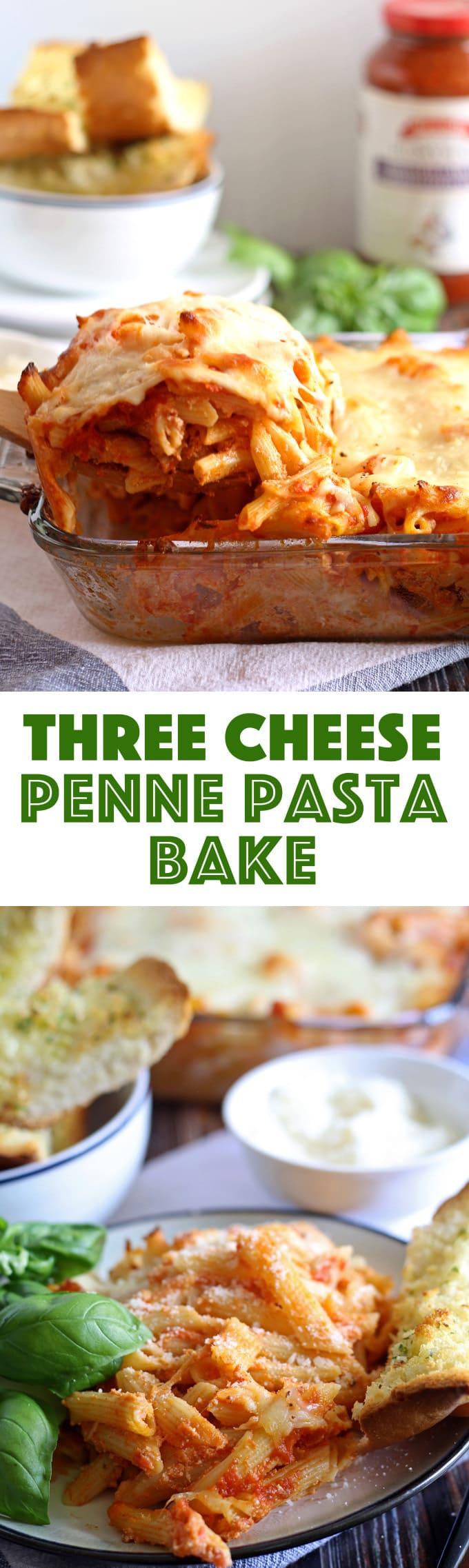 Three Cheese Penne Pasta Bake | honeyandbirch.com