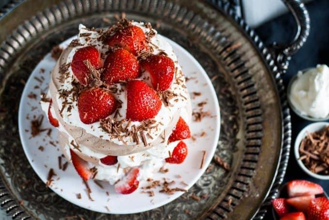 strawberry chocolate pavlova cake
