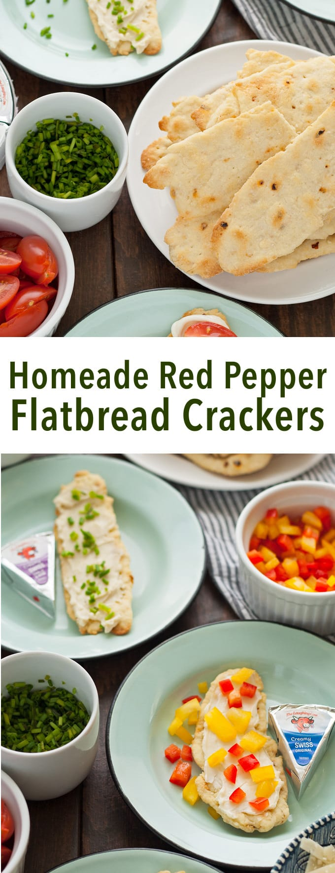 Try these homemade red pepper flatbread crackers with Laughing Cow cheese and some of these easy toppings to reinvent snacking! | honeyandbirch.com