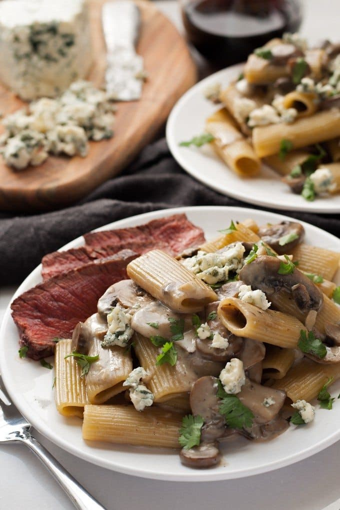 two plates of Mushroom Blue Cheese Rigatoni