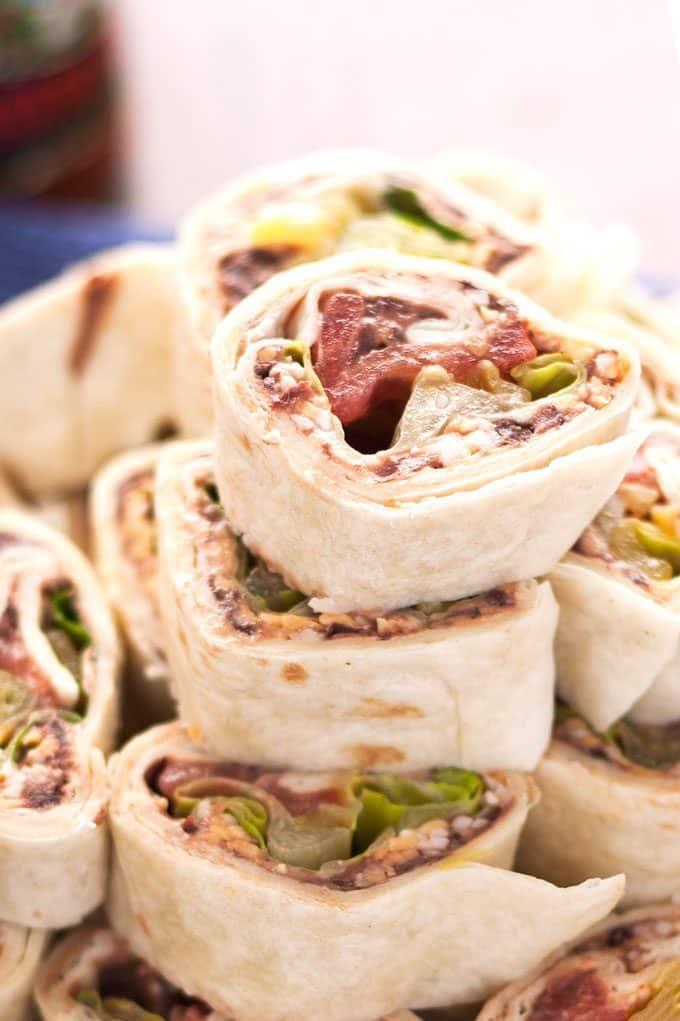 closeup photo of taco pinwheel