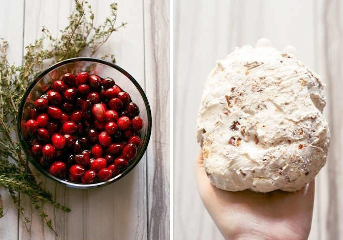 cranberries in a bowl and goat cheese