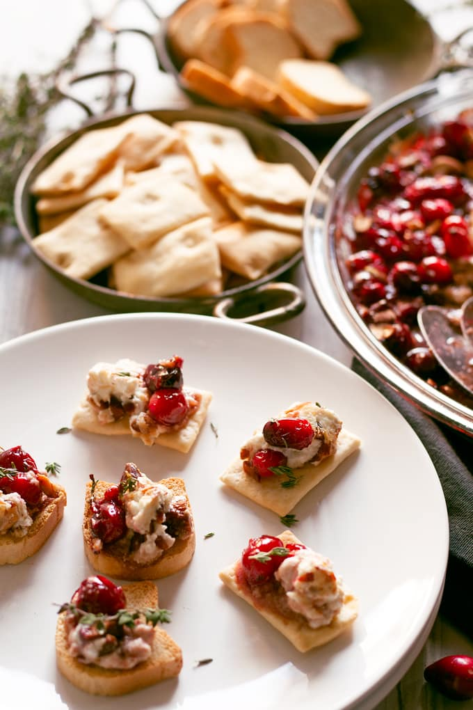 baked goat cheese roasted cranberry appetizer on crackers