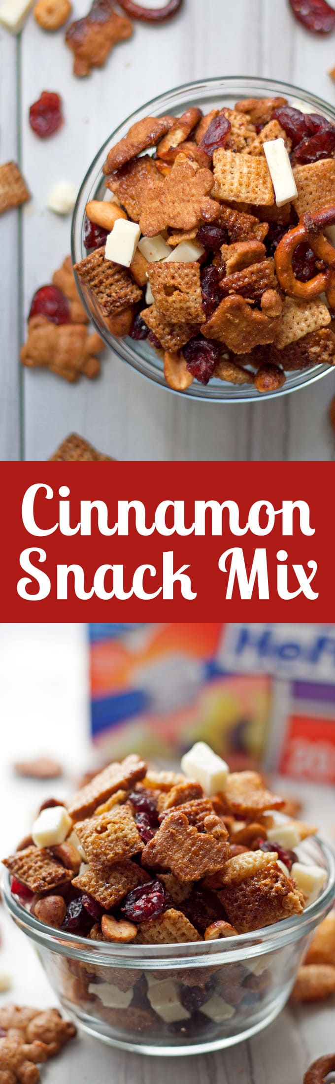 Try this cinnamon snack mix recipe - full of rice cereal, pretzels, graham crackers, cranberries and white chocolate! | honeyandbirch.com