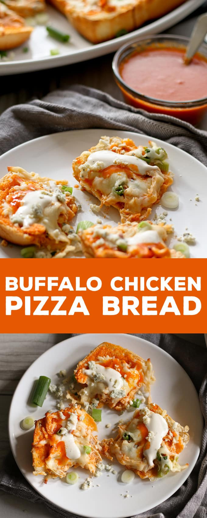 This buffalo chicken pizza bread recipe is going to be a hit at your next party! It's made with KING'S HAWAIIAN® Sweet Bread Rolls for easy eating and is the perfect appetizer or lunch! | honeyandbirch.com