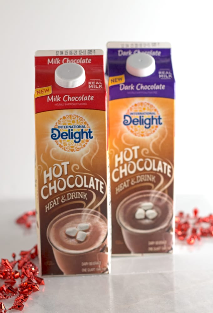 2 containers of international delight hot chocolate