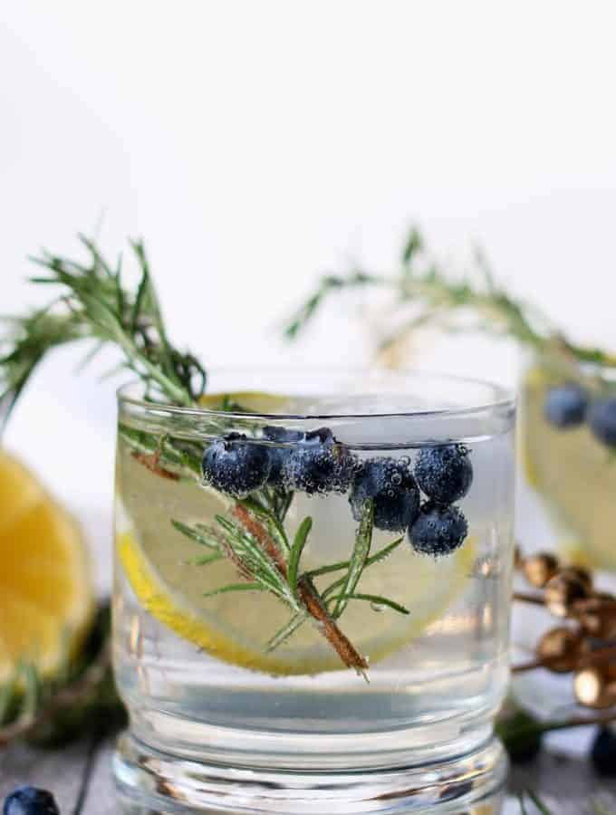 This lemon blueberry vodka spritzer is perfect for holiday parties, weekend brunches or girl's nights. If you are searching for a signature drink, your search is over thanks to this easy cocktail recipe!   honeyandbirch.com