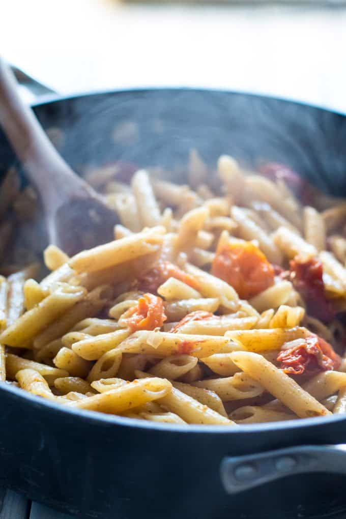tomato pesto and pasta in a pan