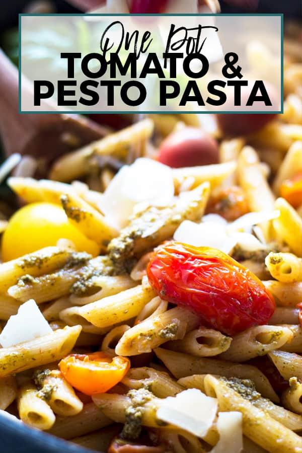 one pot tomato and pesto pasta pin 2