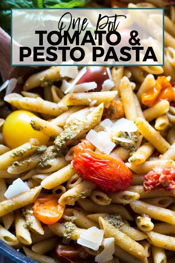 one pot tomato and pesto pasta pinterest image