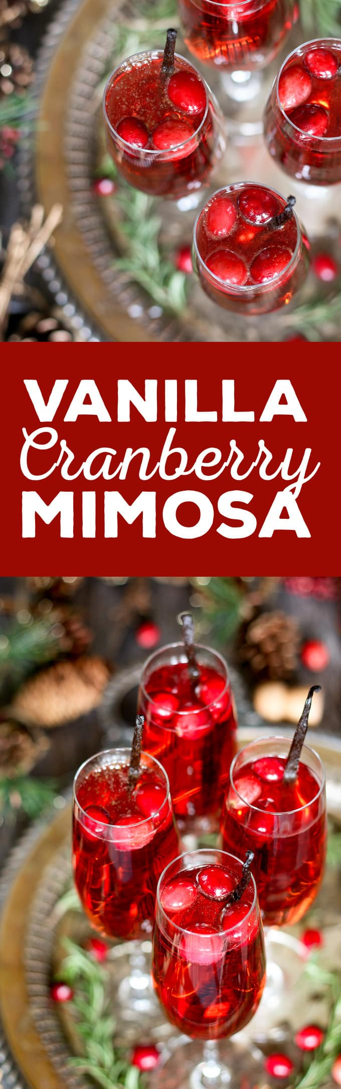 Pinterest image of vanilla cranberry mimosa
