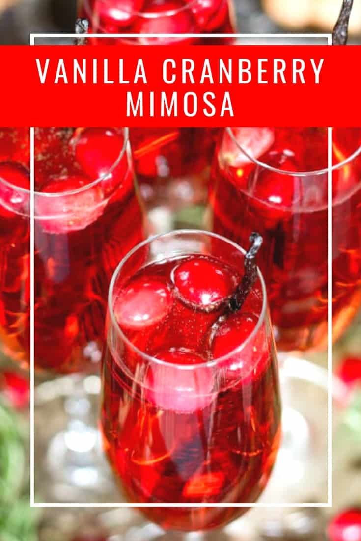 Vanilla cranberry mimosa pinterest pin with text