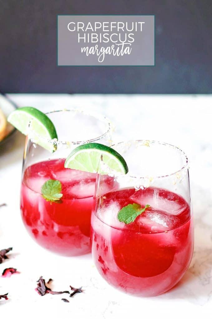 grapefruit hibiscus margaritas pinterest image