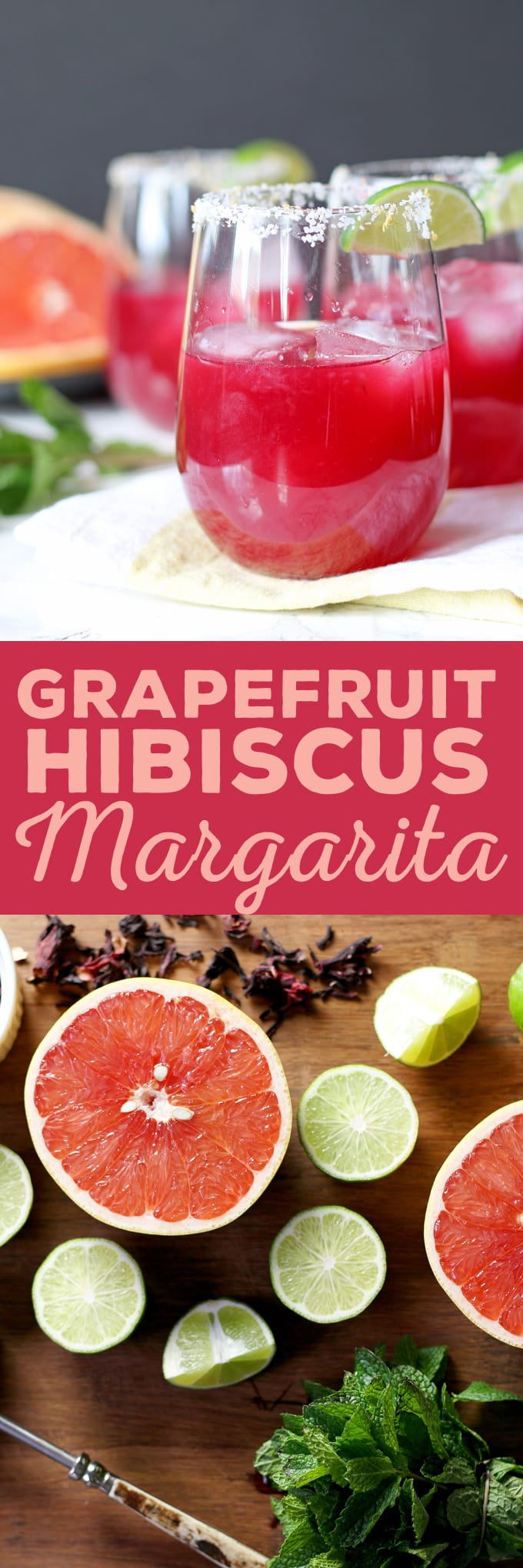 This grapefruit hibiscus margarita is the perfect cocktail recipe to make you think of summer! Fresh grapefruit and lime juice, homemade hibiscus simple syrup and a little muddled mint make this a fun and tropical cocktail! | honeyandbirch.com