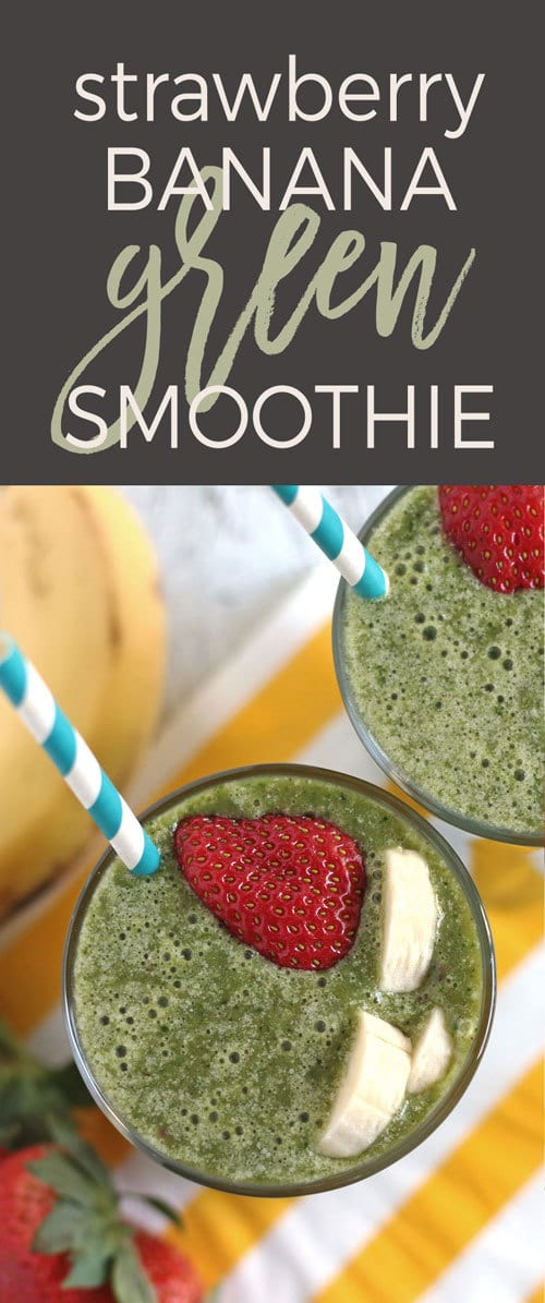 Looking for a healthy breakfast? Try this strawberry banana green smoothie recipe! It's dairy free and sweetened by dates. | honeyandbirch.com