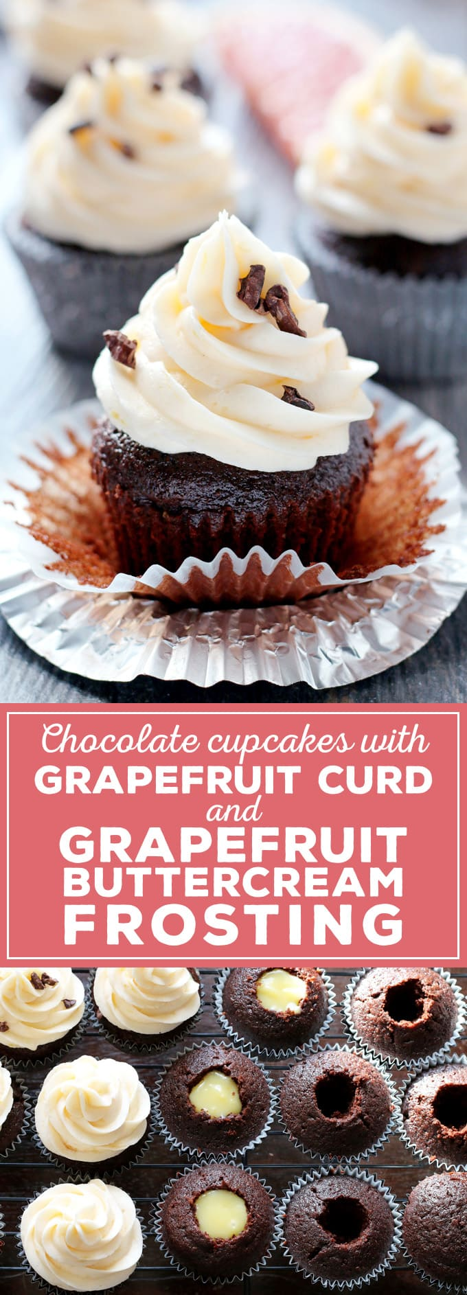 Grapefruit curd and grapefruit buttercream frosting are delicious when enjoyed with your favorite chocolate cupcake recipe. They are the perfect way to enjoy winter citrus! | honeyandbirch.com