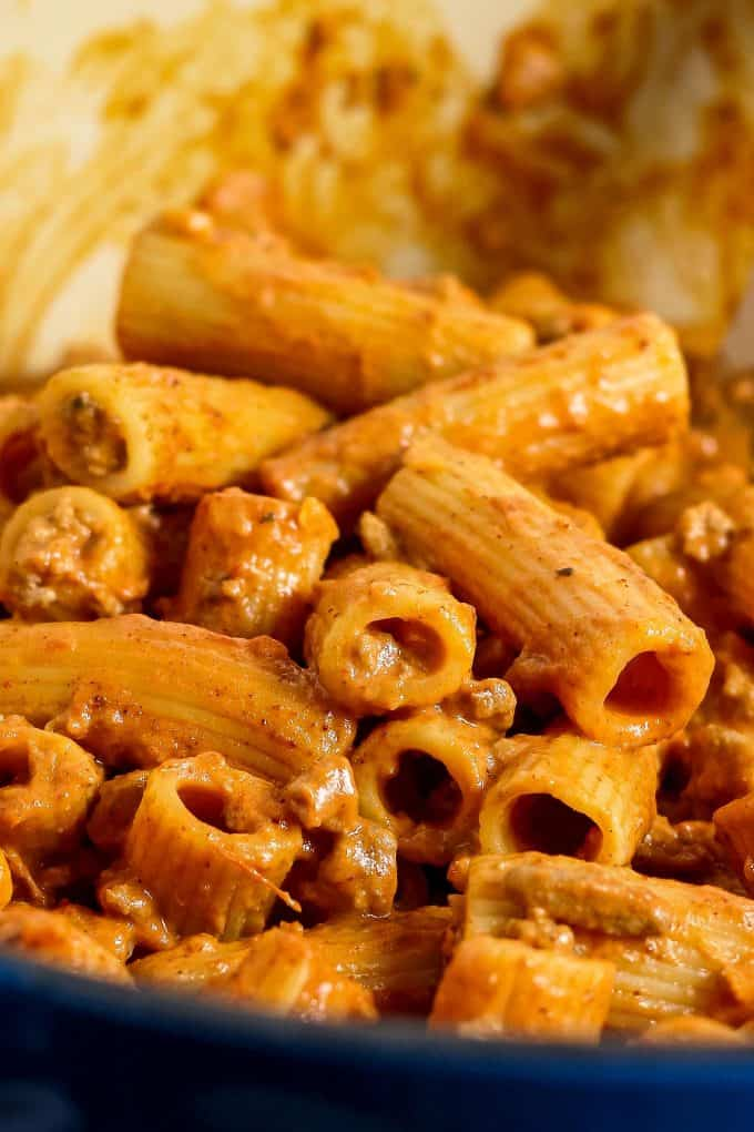 close up photo of taco pasta recipe