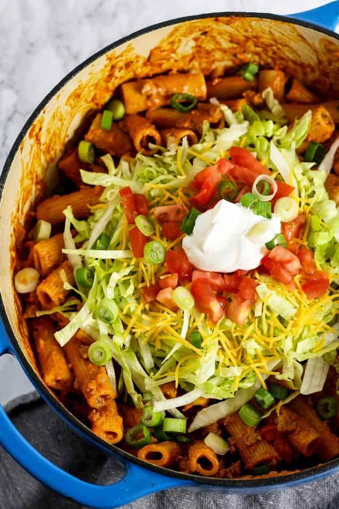 taco pasta garnished