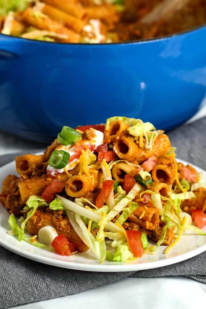 taco pasta on a white plate