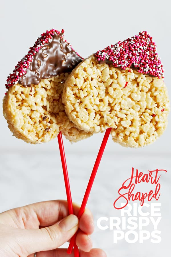 heart shaped Rice Krispie pops for pinterest