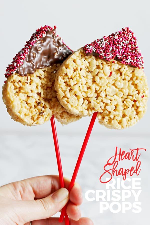 heart shaped Rice Krispie pops for pinterest
