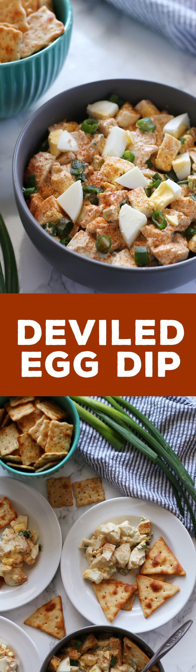 Deviled egg dip is perfect for using up extra hard boiled eggs. It is a chunky dip and is perfect for Easter and holiday parties! | honeyandbirch.com